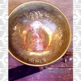 Малая тибетская чаша ручной ковки с натуральной позолотой