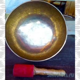 Тибетская  поющая чаша ручной ковки c мантрой «Ом» и символом атлантов