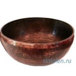 Тибетская поющая чаша ручной ковки c рисунком РКС-6